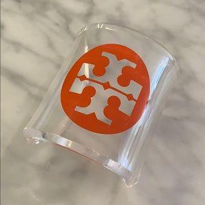Tory Burch Lucite Orange Logo Cuff Bracelet